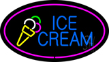 Oval Ice Cream Pink Border LED Neon Sign
