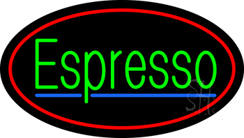 Oval Green Espresso Neon Sign