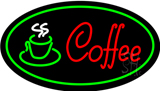 Red Coffee Logo with Green Border LED Neon Sign