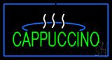 Cappuccino Logo Rectangle Blue Neon Sign