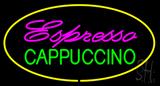 Espresso Cappuccino Oval Yellow Neon Sign