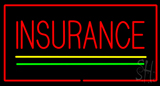 Insurance Yellow Green Lines Red Border Neon Sign