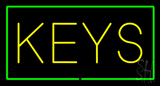 Keys Rectangle Green Neon Sign
