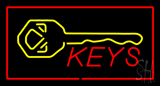 Keys Logo Rectangle Red Neon Sign
