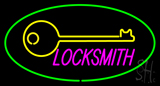 Locksmith Logo Oval Green Neon Sign