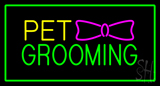 Pet Grooming Logo Rectangle Green LED Neon Sign