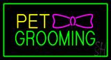 Pet Grooming Logo Rectangle Green Neon Sign