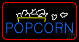 Popcorn Logo Red Rectangle Neon Sign