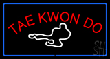 Tae Kwon Do Logo Rectangle Blue Neon Sign