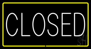 Closed Rectangle Yellow Neon Sign