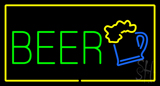 Beer Logo Rectangle Yellow Neon Sign