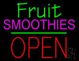 Fruit Smoothies Block Open Green Line Neon Sign