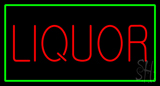 Liquor Rectangle Green Neon Sign