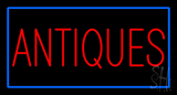 Antiques Rectangle Blue Neon Sign