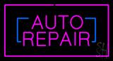 Auto Repair Rectangle Purple Neon Sign