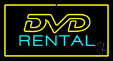 DVD Rental Yellow Border LED Neon Sign