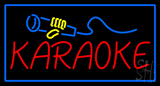 Karaoke Logo Rectangle Blue Neon Sign
