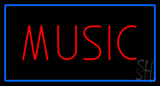 Red Music Blue Rectangle Neon Sign