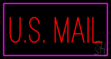 US Mail Rectangle Purple Neon Sign