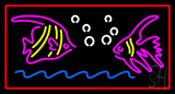 Fish Logo Red Rectangle Neon Sign
