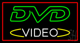 DVD Video Rectangle Red Neon Sign