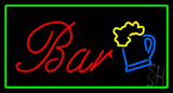 Bar Rectangle Green Neon Sign