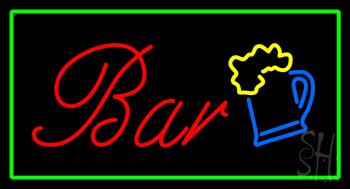 Bar Rectangle Green Neon Sign
