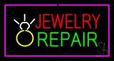 Jewelry Repair Rectangle Purple Neon Sign