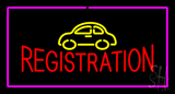 Auto Registration Pink Rectangle Neon Sign