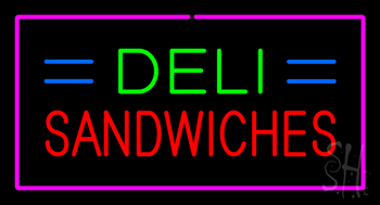 Deli Sandwiches Pink Border Neon Sign