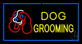 Dog Grooming Blue Rectangle Neon Sign