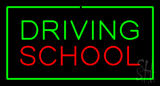 Driving School Green Rectangle Neon Sign