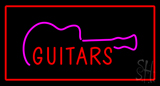 Guitars Rectangle Red Neon Sign