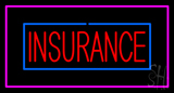 Red Insurance Blue and Pink Border Neon Sign