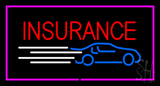 Insurance Car Logo Pink Border Neon Sign