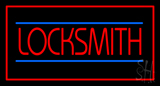 Locksmith Rectangle Red Neon Sign