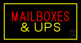 Mail Boxes and UPS Rectangle Yellow Neon Sign