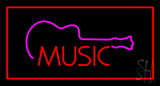 Music Rectangle Red Neon Sign