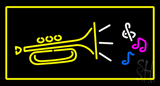 Trumpet Logo Rectangle Yellow Neon Sign