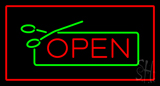 Open Rectangle Red Neon Sign