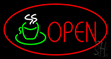 Open Oval Red Neon Sign
