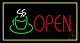 Open Rectangle Coffee Logo Yellow Neon Sign