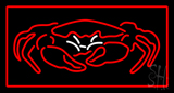 Crab Seafood Logo Red Border Neon Sign
