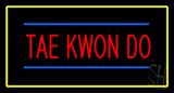 Tae Kwon Do Rectangle Yellow LED Neon Sign