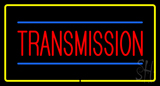 Red Transmission Yellow Rectangle Neon Sign