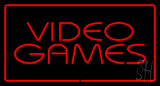 Video Games Rectangle Red Neon Sign