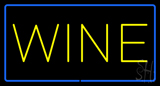 Wine Rectangle Blue Neon Sign