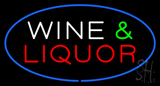 Wine and Liquor Oval Blue Neon Sign