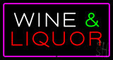 Wine and Liquor Rectangle Purple Neon Sign