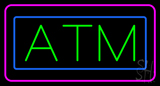 Green ATM Pink Blue Border Neon Sign